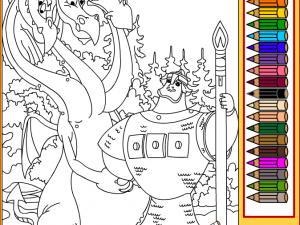 Онлайн игра Змей Горыныч и Добрыня Никитич (Coloring page Snakes Gorynych and Dobrynya Nikitich) (изображение №3)