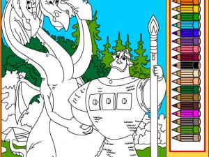Онлайн игра Змей Горыныч и Добрыня Никитич (Coloring page Snakes Gorynych and Dobrynya Nikitich) (изображение №4)