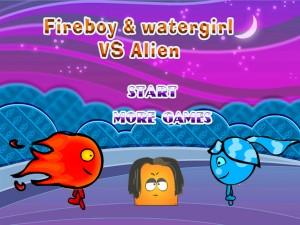 Игра Мальчик-огонь и девочка-вода против инопланетянина