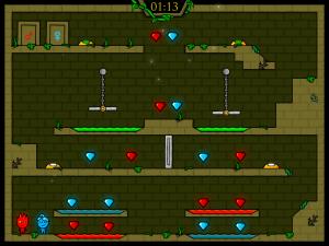 Онлайн игра Огонь и Вода: В Лесном храме (Fireboy and Watergirl in The Forest Temple) (изображение №2)