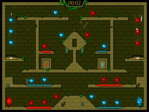 Онлайн игра Огонь и Вода: В Лесном храме (Fireboy and Watergirl in The Forest Temple) (изображение №3)