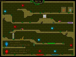 Онлайн игра Огонь и Вода 5: Пять элементов (Fireboy and Watergirl 5 Elements) (изображение №2)