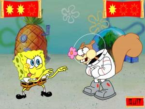 Онлайн Игра Спанч Боб и Сэнди практикует каратэ (Kahrahtay Contest) (изображение №2)