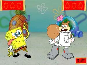 Онлайн Игра Спанч Боб и Сэнди практикует каратэ (Kahrahtay Contest) (изображение №3)