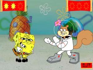 Онлайн Игра Спанч Боб и Сэнди практикует каратэ (Kahrahtay Contest) (изображение №4)