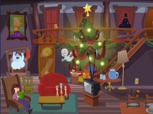 Онлайн игра Caspers Haunted Christmas (Каспер и привидения в Рождество) (изображение №2)